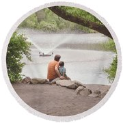 Father And Son 2 Round Beach Towel