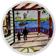 Father And Son On The Porch Round Beach Towel