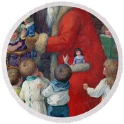 Father Christmas With Children Round Beach Towel