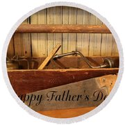 Fathers Day Round Beach Towel