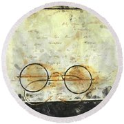 Father's Glasses Round Beach Towel