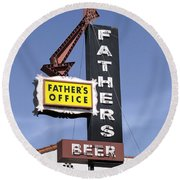 Father's Office Round Beach Towel