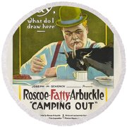 Fatty Arbuckle In Camping Out 1919 Round Beach Towel