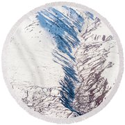 Fault In Alaska  Round Beach Towel