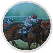 Favorite, Horse Race Art Round Beach Towel