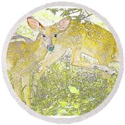 Fawn Twins Digital Painting Round Beach Towel