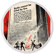 Fdr Quote On Book Burning  Round Beach Towel