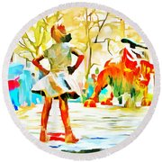Fearless Girl And Wall Street Bull Statues 6 Watercolor Round Beach Towel