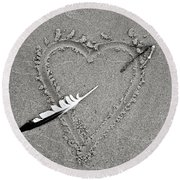 Feather Arrow Through Heart In The Sand Round Beach Towel