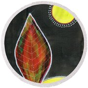 Feather In The Night Round Beach Towel
