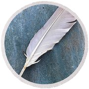 Feather Of A Dove Round Beach Towel