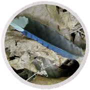 Feather On The Forest Floor Round Beach Towel