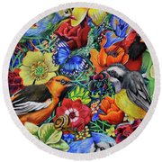 Feathered Foliage Round Beach Towel