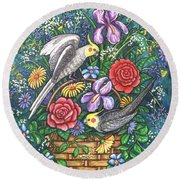 Feathered Frolic Round Beach Towel
