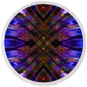 Feathered Stained Glass Round Beach Towel