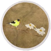 Feathers And Petals I Round Beach Towel
