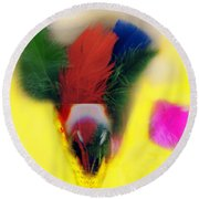 Feathers In Wine Glass Round Beach Towel