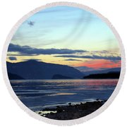 February At Dusk Round Beach Towel