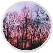 February At Twilight Round Beach Towel