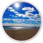 February Blue Round Beach Towel