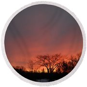 February Morning Red Sky Round Beach Towel