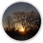 February Sunrise Behind Elm Tree Round Beach Towel