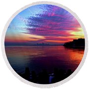February's New Hope Round Beach Towel