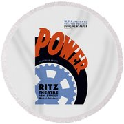 Federal Theatre Project Presents Power Wpa Round Beach Towel