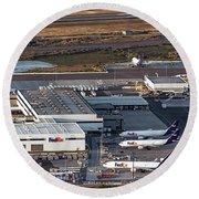 Fedex Express Fedex Ship Center At Oakland International Airport Round Beach Towel