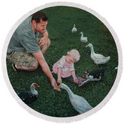 Feeding Ducks With Daddy Round Beach Towel