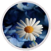 Feeling Blue Daisies Round Beach Towel