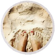 Feet Around The World #4 Round Beach Towel