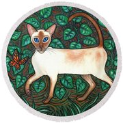 Felina And The Monarch Round Beach Towel