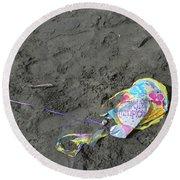 Feliz Cumpleanos Mylar On The Beach Round Beach Towel