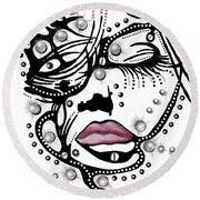 Female Abstract Face Round Beach Towel by Darren Cannell