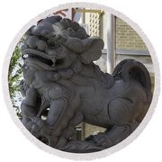 Female Chinese Guardian Lion Round Beach Towel