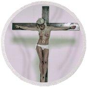 Female Crucifix Xv Round Beach Towel