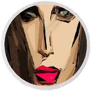 Female Expressions Xiv Round Beach Towel