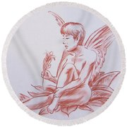 Female Fantasy 1 Round Beach Towel