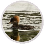 Female Hooded Merganser Round Beach Towel