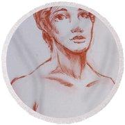 Female Model 10 Round Beach Towel