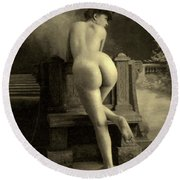 Female Nude, Circa 1900 Round Beach Towel