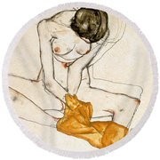 Female Nude Round Beach Towel
