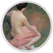 Female Nude Round Beach Towel by Jules Ernest Renoux