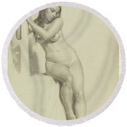 Female Nude Perched On A Stool Round Beach Towel