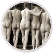 Female Nude Quintet Round Beach Towel