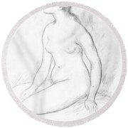 Female Nude Seated Round Beach Towel