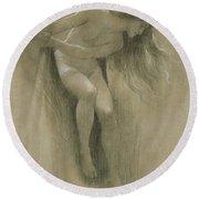 Female Nude Study  Round Beach Towel
