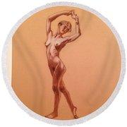 Female Nudity  Round Beach Towel