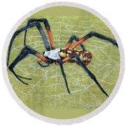 Female Orb Spider -1 Round Beach Towel